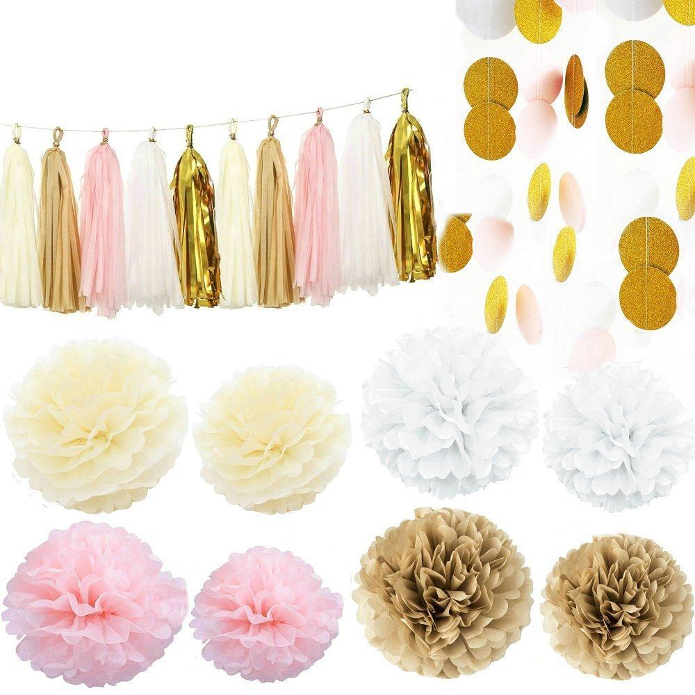 Pink, White, Cream and Gold 35 Piece Decoration Set by Cherry Down |